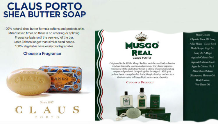 Claus Porto Shea Butter Soaps & Musgo Real Men's Collection from Portugal