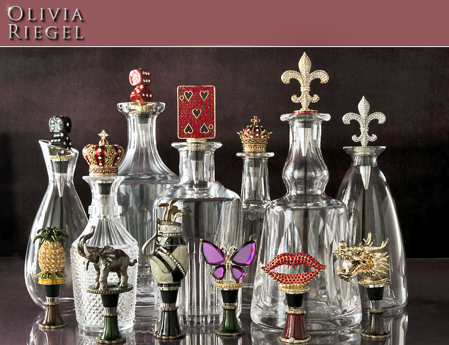 Olivia Riegel Jeweled Picture Frames, Bottle Stoppers, Trays and Boxes